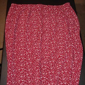 Red Floral Ankle Skirt